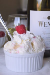No Churn Raspberry White Wine Ice Cream