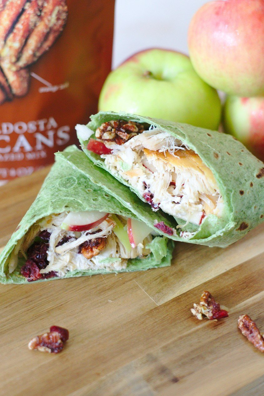 Cranberry Chicken and Pecan Wrap