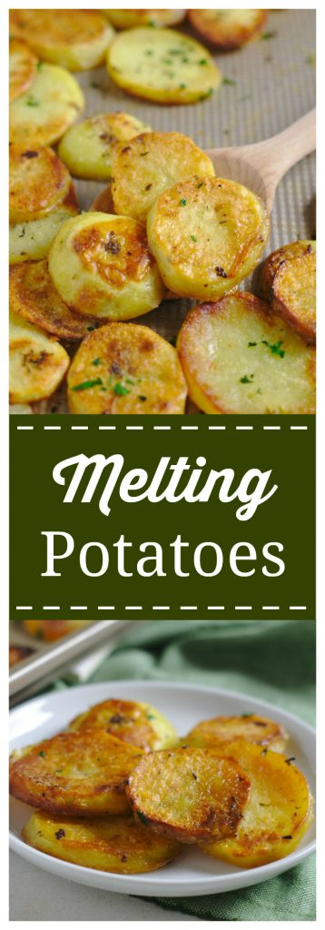 Melting Potatoes - An incredible side dish packed with flavor that will melt in your mouth! Yukon gold potatoes sliced and baked in a blend of seasonings, butter, and broth. Tender on the inside, crispy on the outside. Melting Potato Recipe   Potato Recipe   Side Dish Recipe #potato #easyrecipe #recipe #sidedish #melting #potatoes
