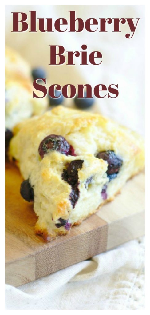 Blueberry Brie Scones - A delicious breakfast treat! Homemade scones filled with fresh blueberries and brie cheese, baked until golden brown. This is the best blueberry scone recipe! Easy Scone Recipe   Blueberry Scones   Homemade Scones #breakfast #baking #recipe