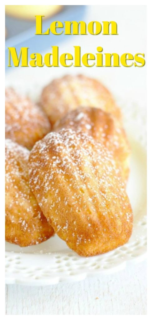 Lemon Madeleines - A delicious French dessert perfect for spring! Light lemon cakes baked in a shell-shaped madeleine pan and topped with powdered sugar. These lemon madeleines are pure perfection! French Madeleines Recipe   Lemon Madeleine   Madeleine Cake Recipe