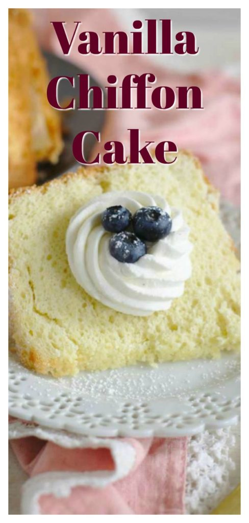 Vanilla Bean Chiffon Cake - A light and fluffy cake that melts in your mouth! This mile high cake is made with vanilla beans and topped with vanilla bean whipped cream! Vanilla Bean Chiffon Cake is perfect for birthdays or a simple dessert! Chiffon Cake Recipe   Vanilla Cake Recipe   Easy Cake Recipe