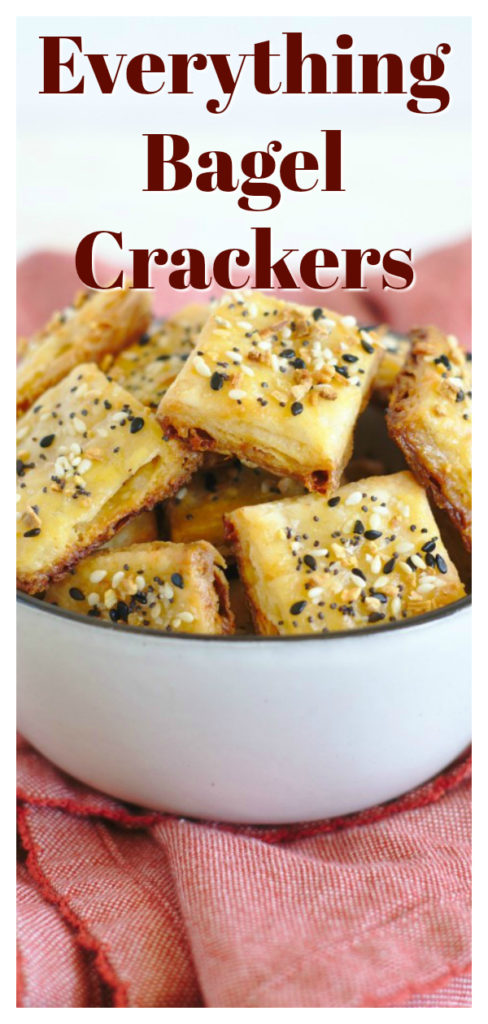 Everything Bagel Crackers - Homemade cheddar cheese crackers topped with a delicious everything bagel seasoning blend! These crackers are so easy to make and taste just like an everything bagel! Homemade Cracker Recipe | Everything Bagel Seasoning Recipe | Recipe Using Everything Bagel Seasoning