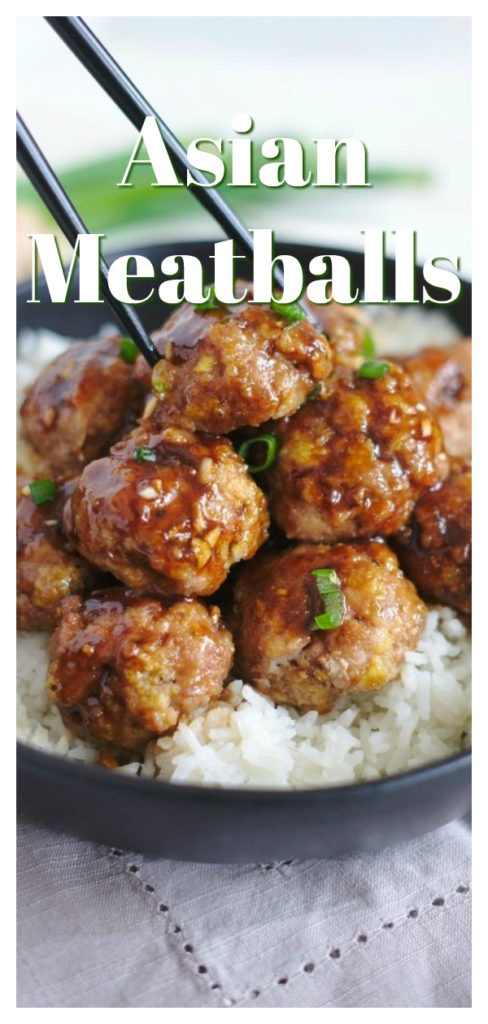 Asian Turkey Meatballs - A fantastic appetizer or meal ready in less than 30 minutes! Baked turkey meatballs covered in a delicious teriyaki sauce. These meatballs are perfect served over rice or noodles!