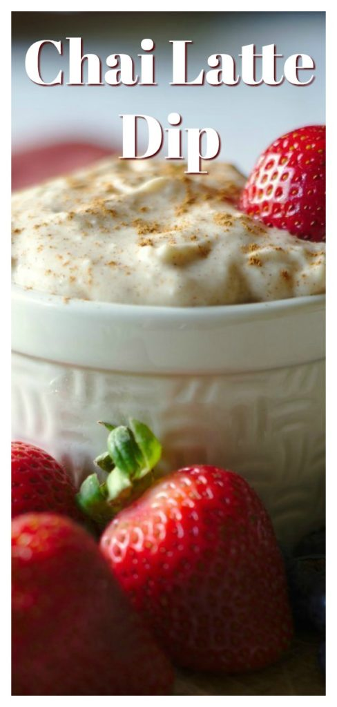 Chai Latte Dip - An easy dessert dip that tastes just like a chai tea latte! It only takes 5 minutes to make this dip and it's perfect served with fruit! Chai Recipe | Dessert Dip Recipe | Sweet Dip Recipe
