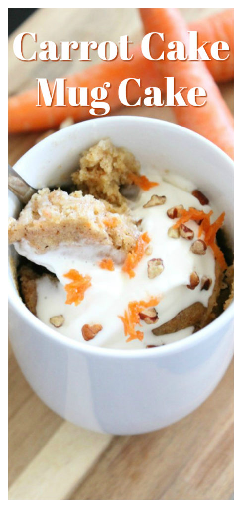 Carrot Cake Mug Cake - A perfect one-serving dessert that tastes just like a carrot cake! It is a delicious treat that is sure to be a new favorite! Mug Cake Recipe | Easy Mug Cake | Carrot Cake #cake #dessert #recipe #easyrecipe