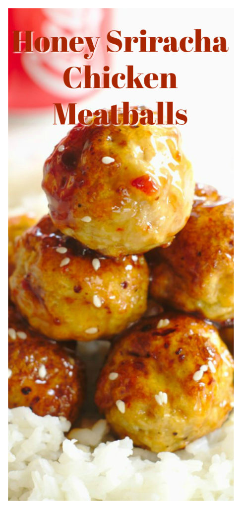 Honey Sriracha Chicken Meatballs - A delicious appetizer or meal made with homemade baked chicken meatballs and a spicy honey sriracha sauce! Meatball Recipe | Easy Meatballs | Chicken Meatballs #appetizer #chicken #recipe #easyrecipe