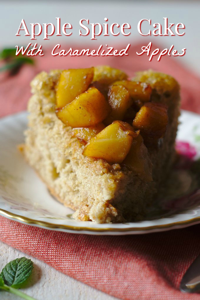 Apple Spice Cake - A flavorful fall dessert that takes less than 45 minutes to make! Light and fluffy spice cake topped with caramelized apples.  Spice Cake Recipe | Apple Cake | Apple Recipe #cake #apple #fall #apples #baking #dessert #recipe #easydessert #easyrecipe