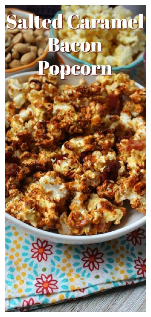 Salted Caramel Bacon Popcorn - A delicious snack mix perfect for a party or game day! Homemade salted caramel drizzled on popcorn and bacon. Easy Popcorn Recipe | Caramel Corn Recipe | Bacon Recipe