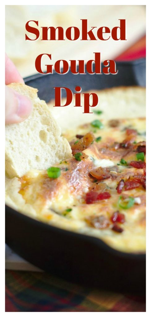 Smoked Gouda Dip - A quick and easy dip recipe perfect for a party. Smoked gouda, cream cheese, spinach, and bacon baked together and served with baguette.  Easy Dip Recipe | Gouda Recipe | Cheese Dip