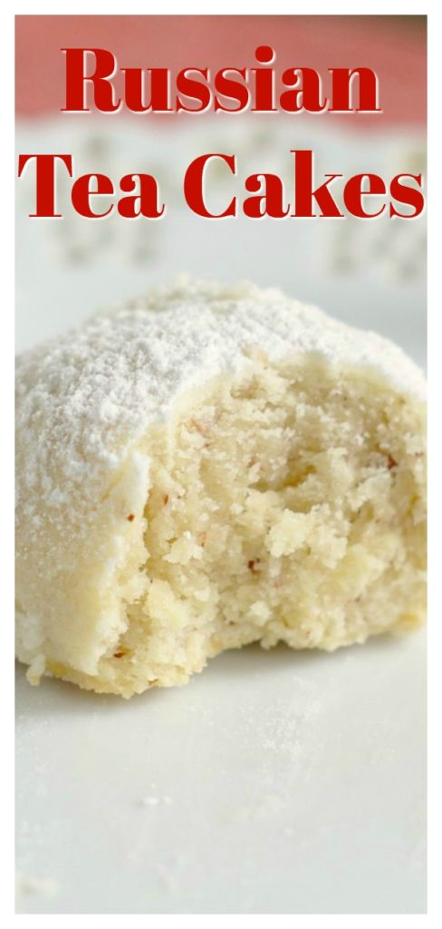 Russian Tea Cakes - Also called Mexican wedding cookies or snowball cookies.  These cookies melt in your mouth and are perfect for Christmas cookie exchanges! Russian Tea Cakes   Mexican Wedding Cookies   Snowball Cookies   Christmas Cookie Recipe #cookies #christmas #dessert #recipe #easyrecipe