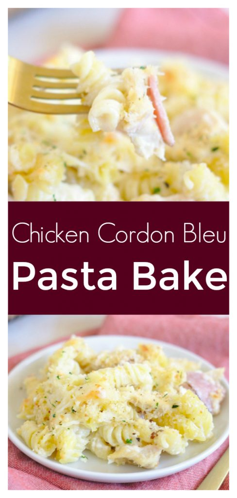 Chicken Cordon Bleu Pasta Bake - All of your favorite chicken cordon bleu flavors in a casserole! Chicken, ham, swiss cheese, and noodles combined with a rich, creamy sauce and topped with breadcrumbs and more cheese!