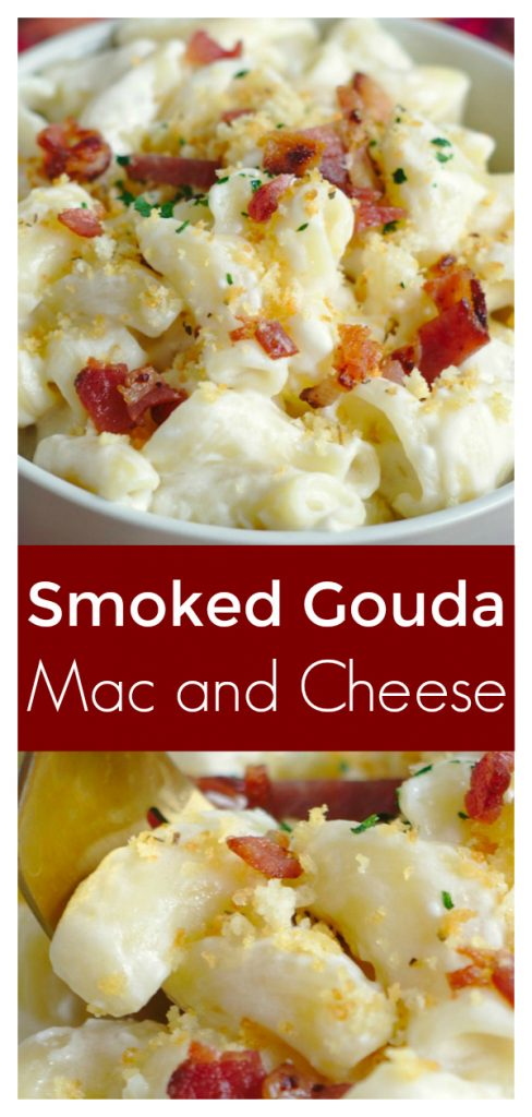 Smoked Gouda Mac and Cheese - A quick and easy 30 minute meal filled with flavor! Creamy smoked gouda mac and cheese topped with bacon and breadcrumbs! Gouda Mac and Cheese   Mac and Cheese Recipe   Macaroni and Cheese Recipe #pasta #dinner #recipe #easyrecipe #easydinner