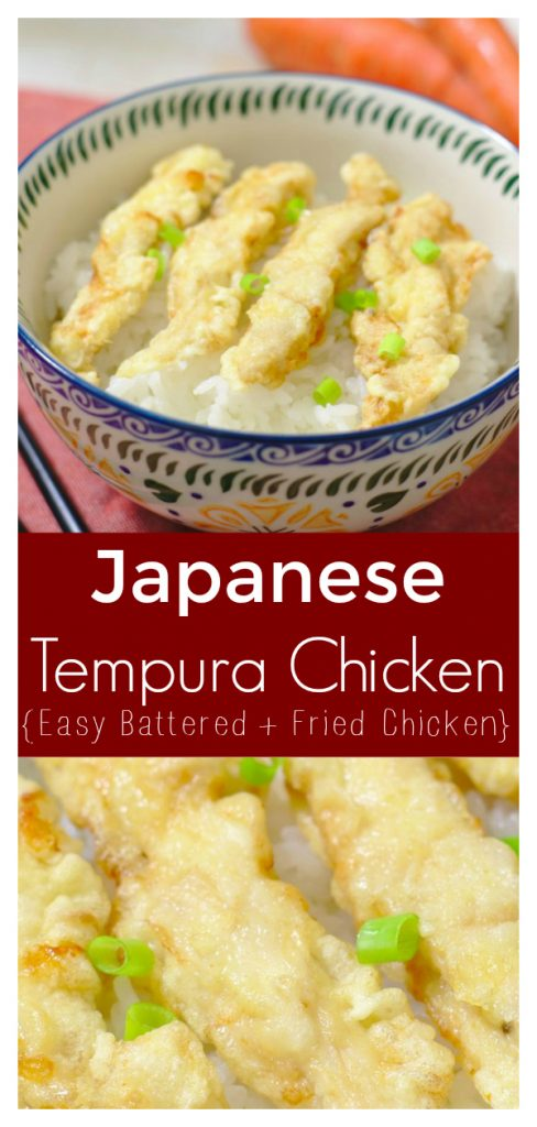 Chicken Tempura - Light and crispy breaded chicken deep fried until golden brown! Chicken tempura is perfect served over rice as a easy meal! Japanese Recipe | Tempura Recipe | Chicken Tempura Recipe #japanese #chicken #tempura #dinner #recipe #easyrecipe #dinnerrecipe #japaneserecipe