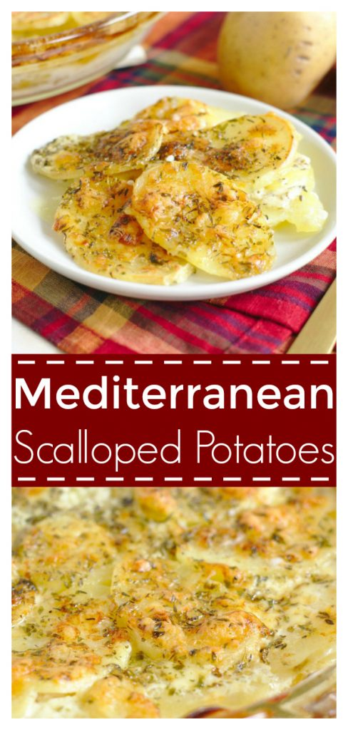 Mediterranean Scalloped Potatoes - A delicious side dish perfect for a holiday dinner! Thinly sliced potatoes topped with creamy white cheddar cheese and mediterranean spices! Easy Potato Recipe   Potatoes Recipe   Scalloped Potatoes #recipe #easyrecipe #sidedish #potatoes