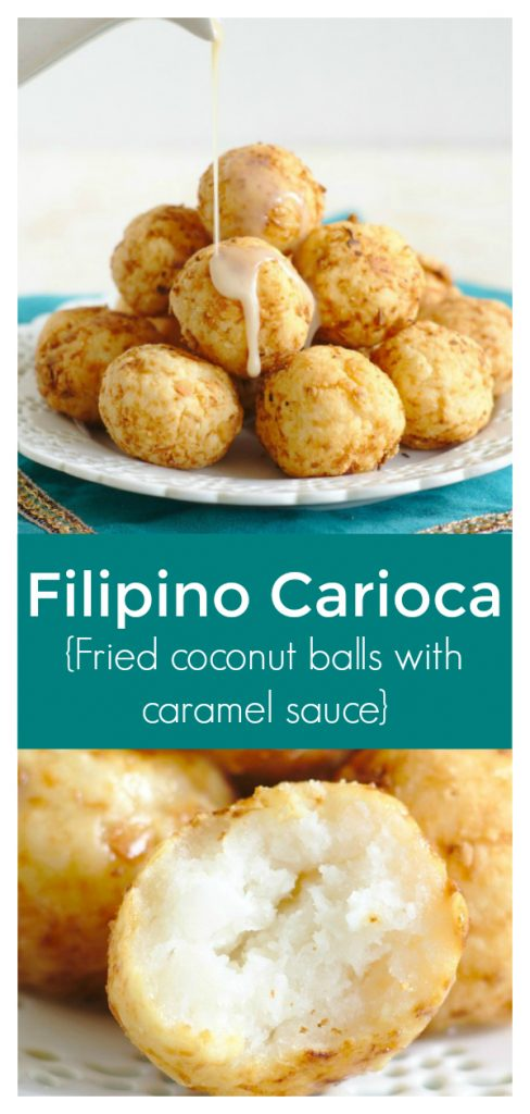 Filipino Carioca - A delicious dessert recipe from the Philippines! Fried sticky rice balls with a coconut caramel sauce that are addicting! Carioca Recipe | Filipino Dessert Recipe | Karioka #dessert #filipino #recipe #easyrecipe #easydessert