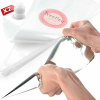 Weetiee Pastry Piping Bags -100 Pack-16-Inch Disposable Cake Decorating Bags Anti-Burst Cupcake Icing Bags for all Size Tips Couplers and Baking Cookies Candy Supplies Kits - Bonus 2 Couplers