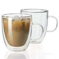 Sweese 4602 Glass Coffee Mugs - 12.5 oz Double Walled Insulated Mug Set with Handle, Perfect for Latte, Americano, Cappuccinos, Tea Bag, Beverage, Set of 2
