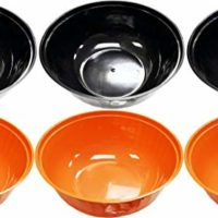 """Set of 6 Halloween Serving Bowls! 12"""" Diameter - Deep Large Bowl - BPA FREE - Perfect for Candy, Parties, Tasty Food, Events, and More! (6, Black & Orange)"""
