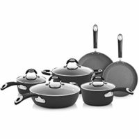 Bialetti Impact, 07559, textured nonstick surface, oil distribution,10 piece cookware set, gray