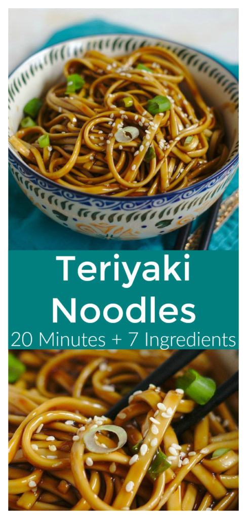 Teriyaki Noodles - A quick and easy meal ready in just 20 minutes! Asian noodles topped with a delicious and simple homemade teriyaki sauce! Japanese Recipe   Noodle Recipe   Teriyaki Recipe #japanese #recipe #easyrecipe #noodles #teriyaki