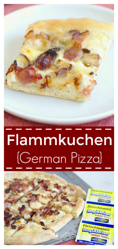 Flammkuchen (German Pizza) - A classic pizza recipe from the border of France and Germany! Homemade pizza dough, creme fraiche, bacon, onions, and gruyere. German Pizza Recipe   Flammkuchen Pizza   White Pizza Recipe