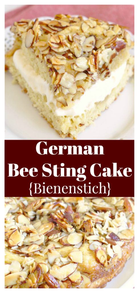 German Bee Sting Cake (Bienenstich) - A delicious yeasted cake topped with a crunchy honey almond topping and filled with a homemade pastry cream. German Dessert Recipe   Bee Sting Cake   Bienenstich Kuchen   Honey Cake
