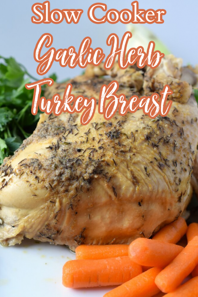 Slow Cooker Turkey Breast - The easiest way to cook a turkey breast! A turkey breast cooked in a crock pot with a butter herb spread on top. Great as the centerpiece of a Thanksgiving or Christmas meal or as an easy weeknight meal. Crock Pot Turkey Breast   Thanksgiving Turkey Breast   Slow Cooker Turkey Breast Recipe