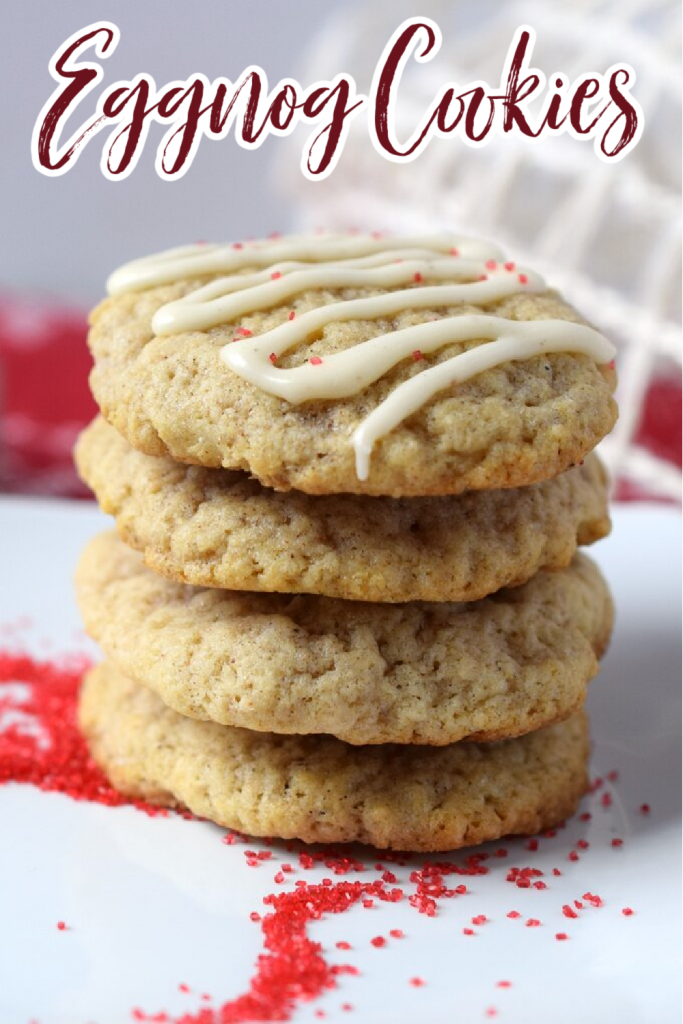 Eggnog Cookies - A festive spin on classic sugar cookies made with eggnog. The perfect addition to any holiday cookie tray! Eggnog Cookie Recipe | Eggnog cookies | Christmas Cookies | Christmas Cookie Recipes