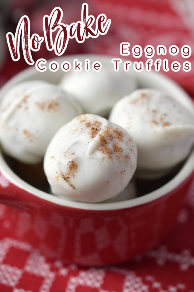Eggnog Cookie Truffles – Easy no bake truffles made from eggnog cookie dough and rolled with white chocolate! These truffles are perfect for the holidays or as a dessert for any party! Eggnog Truffles   Eggnog Dessert Recipes   No Bake Truffle Recipes